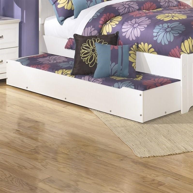 Ashley Lulu Wood Trundle Under Bed Storage in White by Ashley Furniture