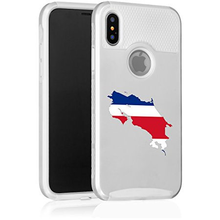 For Apple (iPhone X) Shockproof Impact Hard Soft Case Cover Costa Rica Costa Rican Flag - Phone Cards Costa Rica