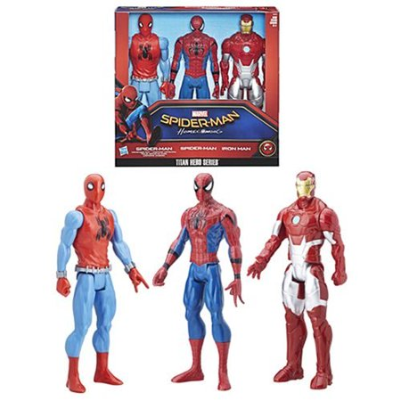 Spider Man Homecoming Titan Hero Series 12 Inch Action Figure 3 Pack  When Criminals Threaten The Big City  Its Up To Spider Man To Shut Them Down   But    By Supers