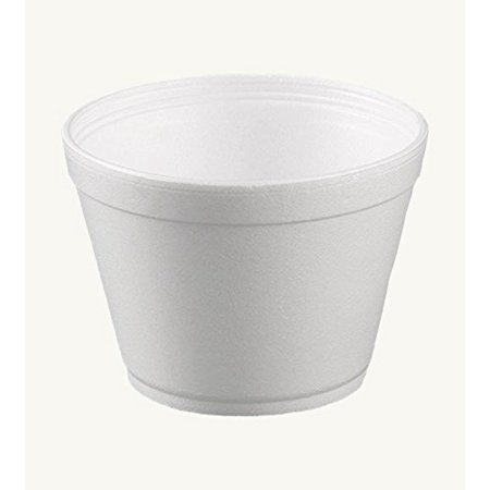 Dart 16MJ32, 16 Oz. Customizable White Foam Cold And Hot Food Container with Translucent Vented Plastic Lid, Ice-Cream Yogurt Cups, Deli Food Containers with Matching Covers (50) ()