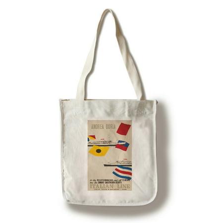 Kota Doria Cotton Saree - Andrea Doria - Cristoforo Columno Vintage Poster (artist: Ciuti) Italy c. 1954 (100% Cotton Tote Bag - Reusable)
