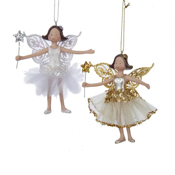 Club Pack of 12 Gold and White Glitter Fairy Christmas Ornaments 4""