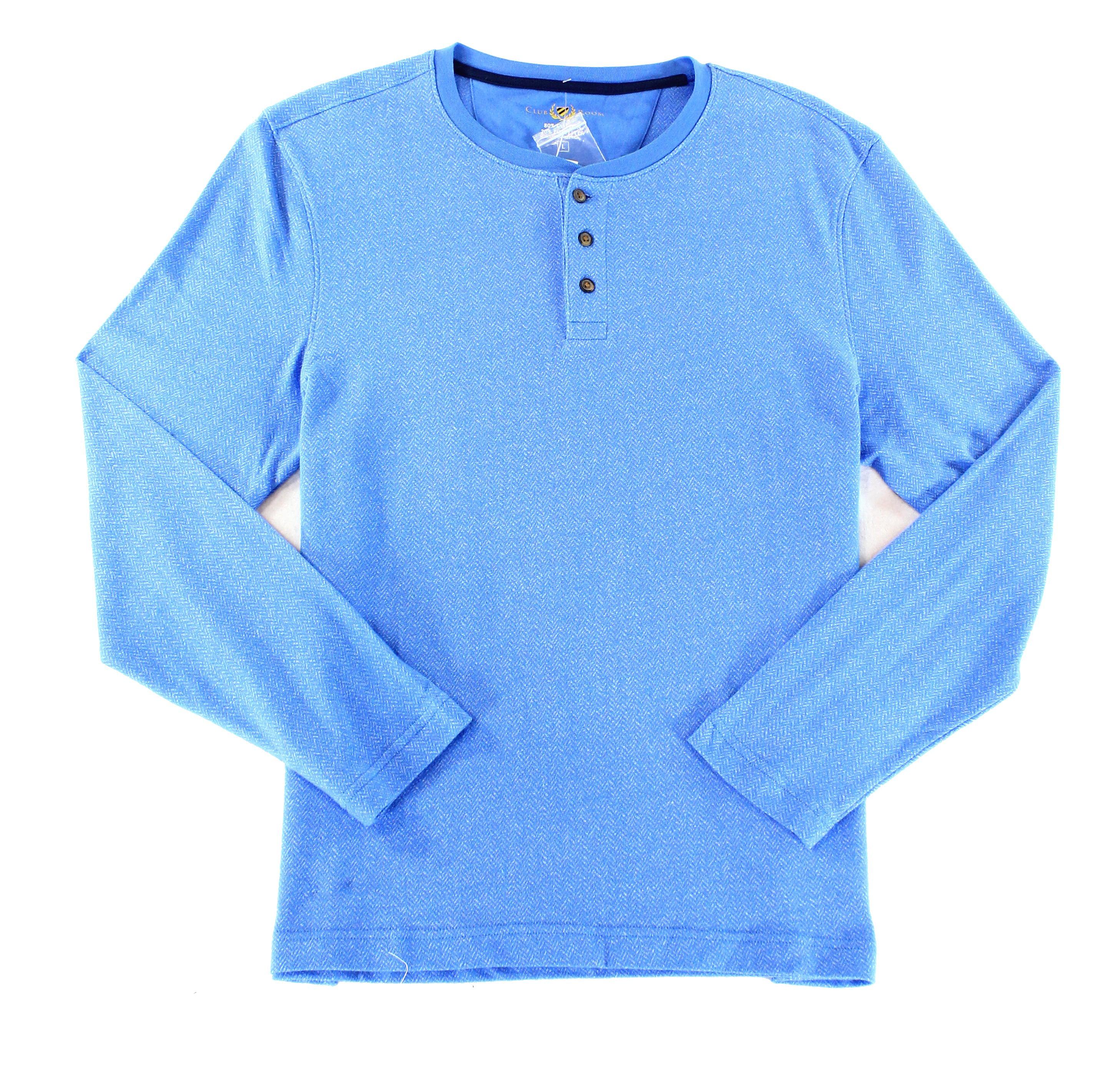 62531bf047d3 Club Room NEW Palace Blue Mens Size Large L Herringbone Henley Shirt ...