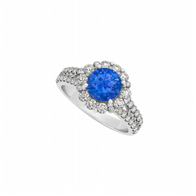 Fine Jewelry Vault UBUNR50594AGCZS Cool Sapphire & CZ Ring in Sterling Silver - 2 CT TGW , 34 Stones
