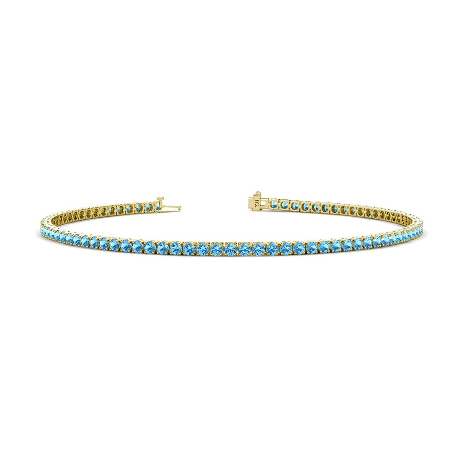 Blue Topaz 2mm 4-Prong Tennis Bracelet 2.28 cttw in 14K Yellow Gold by TriJewels