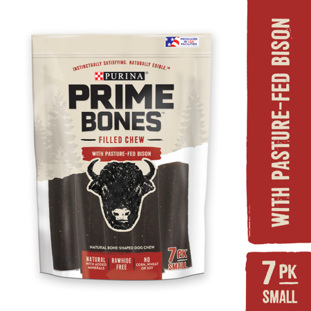 Purina Prime Bones Natural Small Dog Treats, Filled Chew With Pasture-Fed Bison, 11.2 oz. Pouch