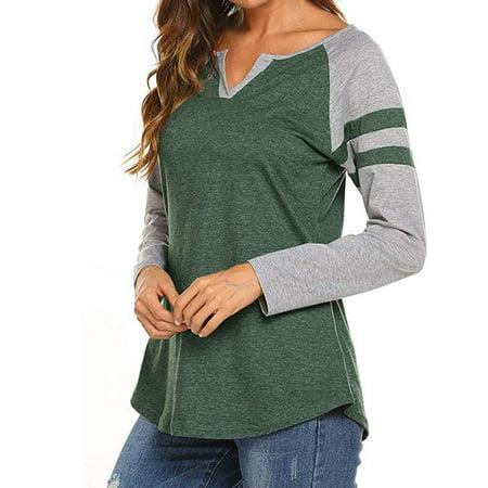 Women's Raglan Long Sleeve T-Shirt Loose Blouse Henley V Neck Baseball Tee Shirt