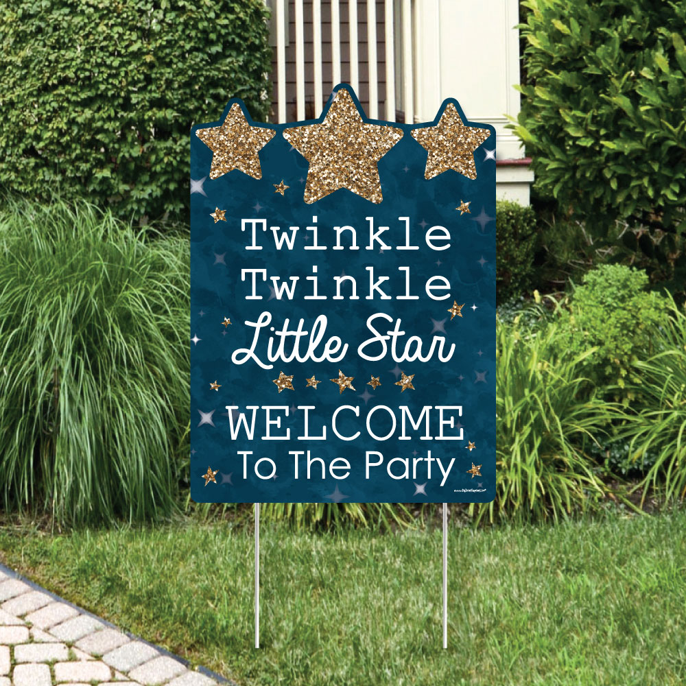 Twinkle Little Star - Party Decorations - Birthday Party or Baby Shower Welcome Yard Sign
