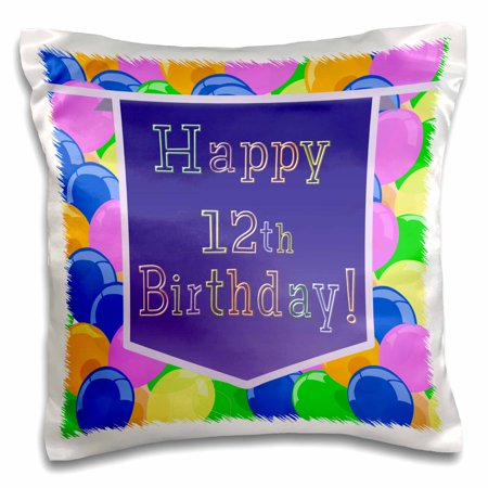 3dRose Balloons with Purple Banner Happy 12th Birthday - Pillow Case, 16 by 16-inch