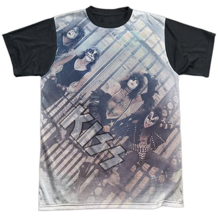 KISS Rock Band Early Days Photo Of Classic Line-Up Adult Black Back T-Shirt](Halloween Kiss Band)