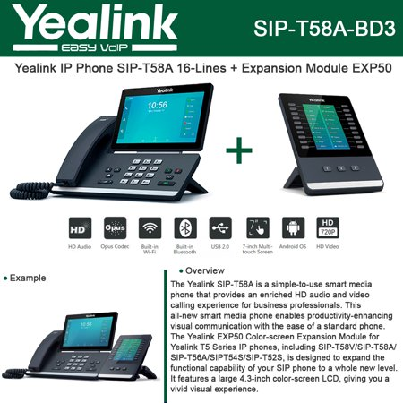 Yealink Sip T58a Ip Phone Smart Media Android   Expansion Module Exp50