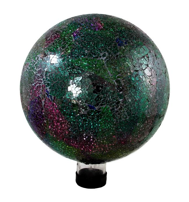 "10"" Green, Pink and Purple Mosaic Glass Outdoor Patio Garden Gazing Ball"