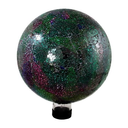 "Image of ""Northlight 10"""" Mosaic Glass Outdoor Patio Garden Gazing Ball - Green/Pink"""