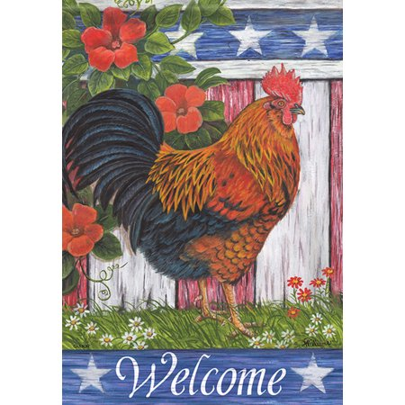 Rise Against Flag - Patriotic Rooster Summer Garden Flag Early Rise Primitive Farm 12.5
