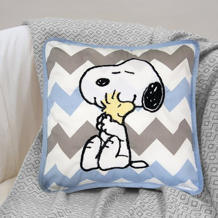 Lambs & Ivy Peanuts My Little Snoopy Decorative Pillow, Blue - Snoopy Peanuts