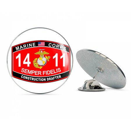 Top Hat Construction (Construction Drafter Marine Corps MOS 1411 USMC US Marine Corps Military Steel Metal 0.75