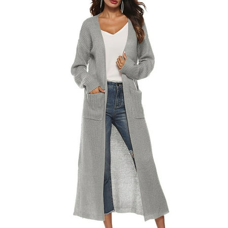- Ropalia Women Long Sleeve Solid Color Long Sweater Cardigan Coat