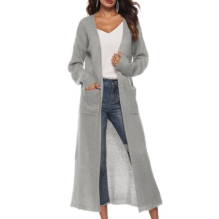 Ropalia Women Long Sleeve Solid Color Long Sweater Cardigan Coat - Flutter Sleeve Sweater