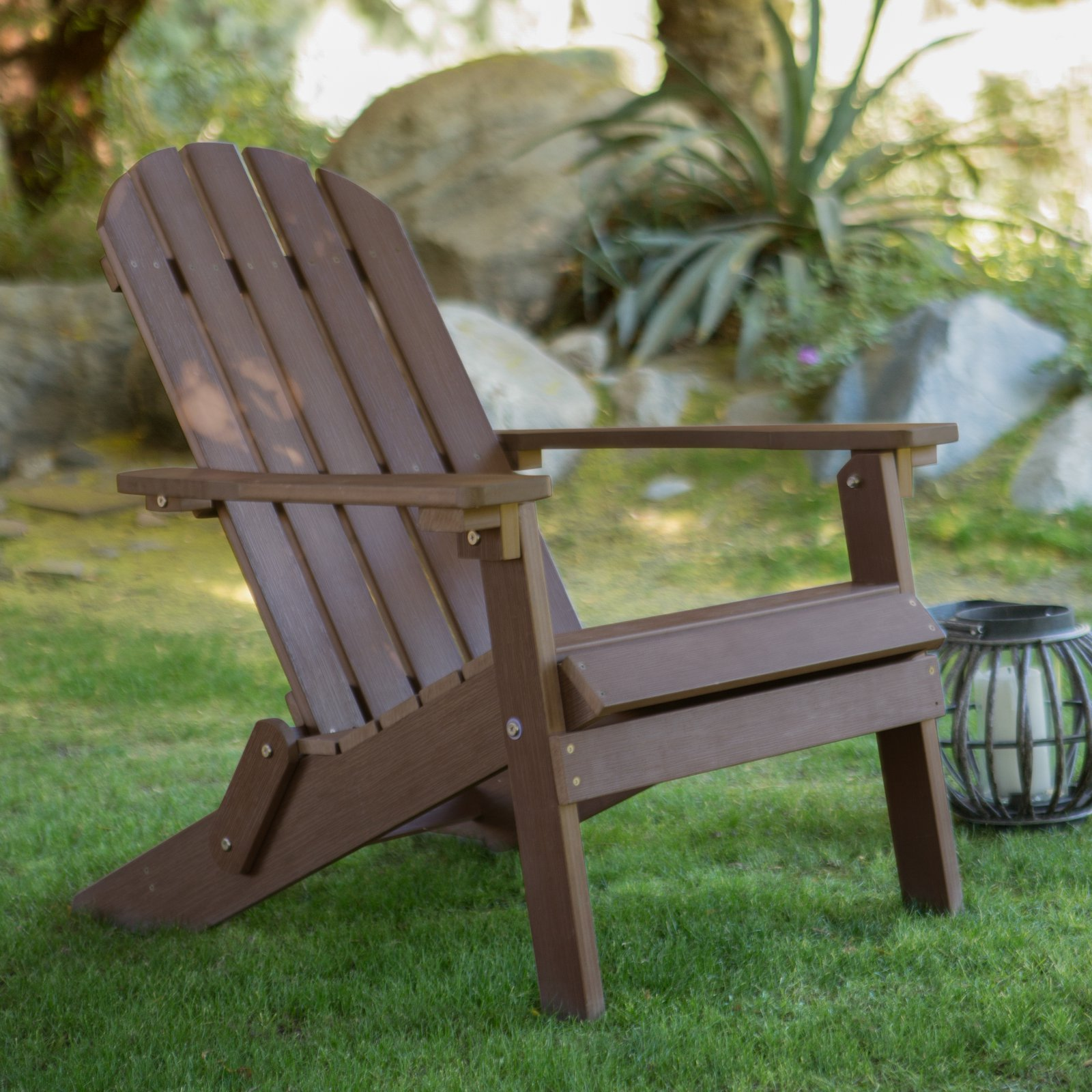 Belham Living All Weather Resin Adirondack Chair Chocolate Brown by Merry Products