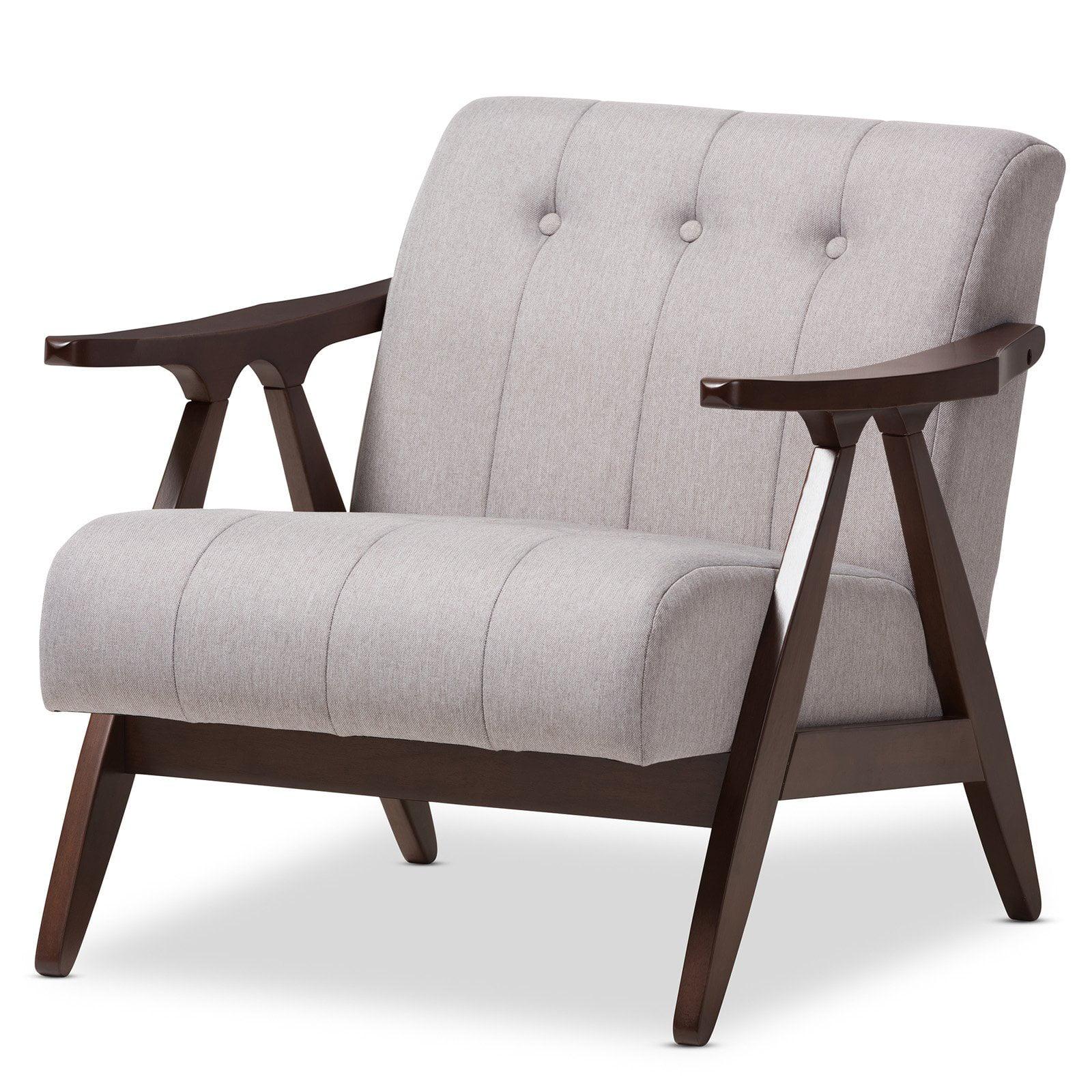 Baxton Studio Enya Grey Fabric Lounge Chair