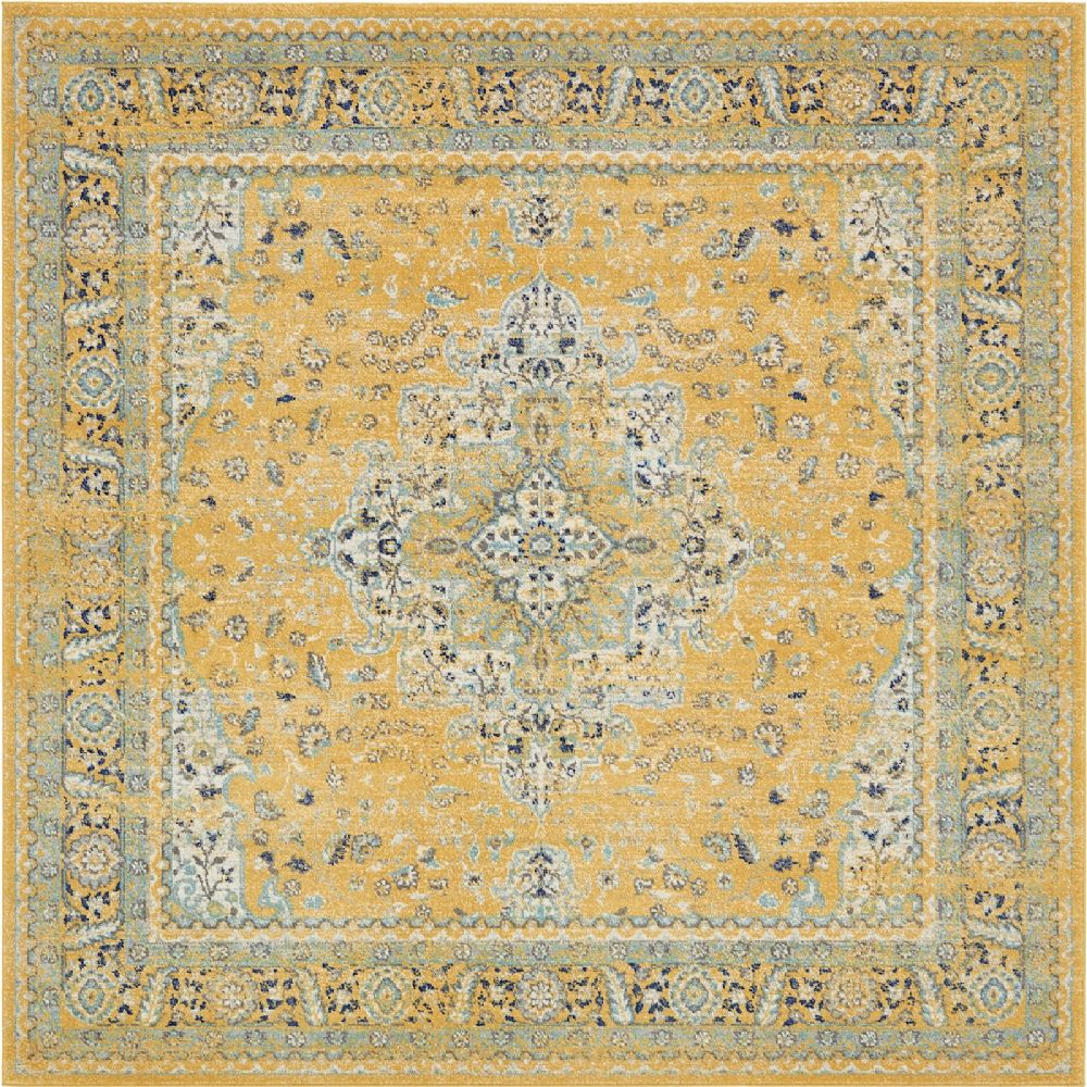 Traditional Kasha Collection Area Rug in Saffron and Rectangle, Runner, Square Shape
