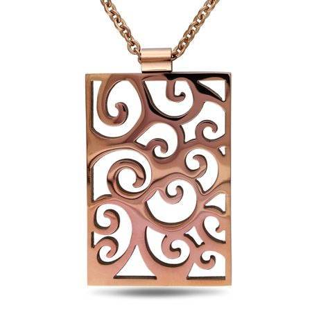 Imperial Bronze Finish Pendants - Miabella Stainless Steel with Bronze Finishing Vintage Swirl Necklace, 18