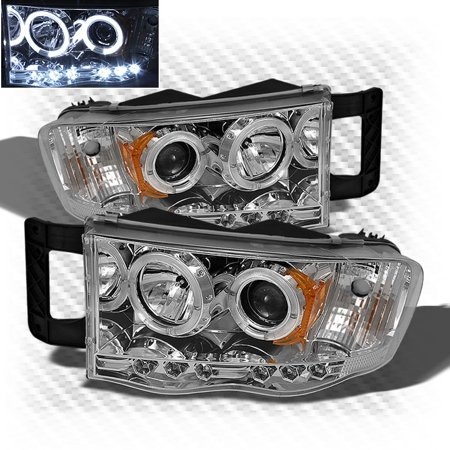 2002-2005 Dodge Ram Dual Halo LED Projector Headlights Head Lights Lamp  Pair Left+Right 2003