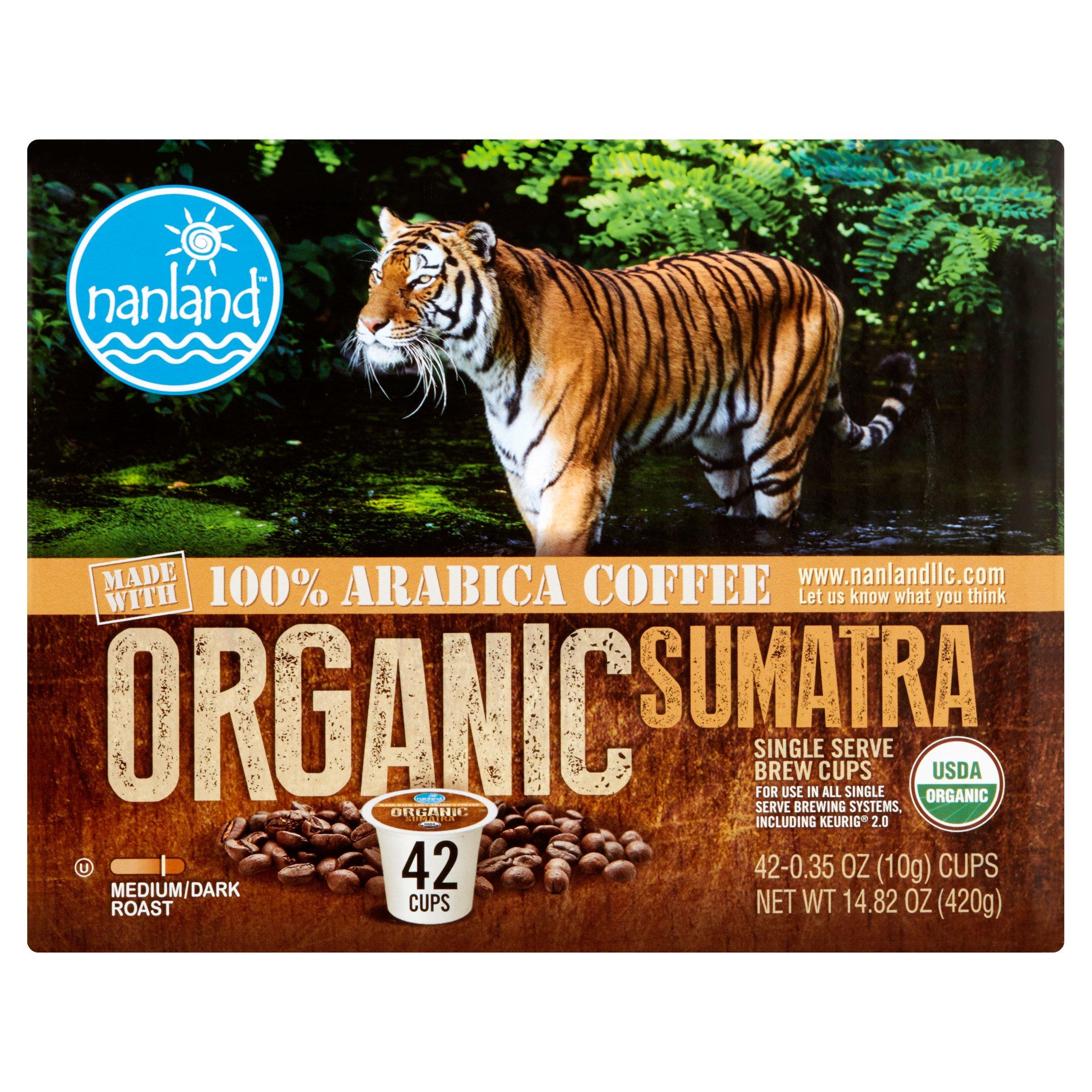 Nanland Organic Sumatra Medium/Dark Roast Single Serve Brew Cups, 0.35 oz, 42 count