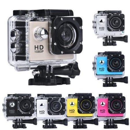 Black Sports Action Camera 1080p HD Waterproof with Touch Screen LCD POV Adventure Camcorder with