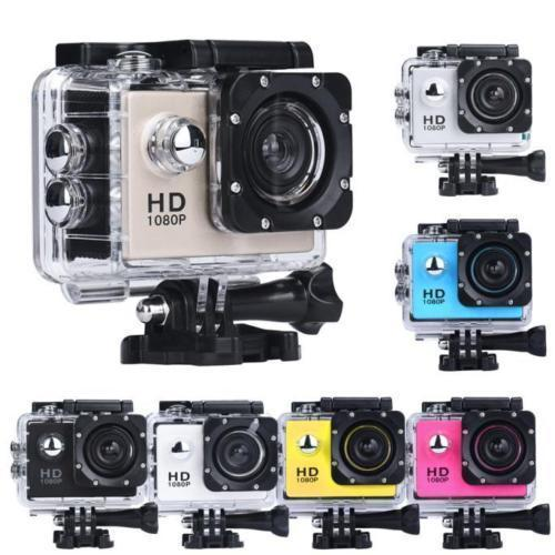 Black Sports Action Camera 1080p HD Waterproof with Touch Screen LCD POV Adventure Camcorder with Accessories