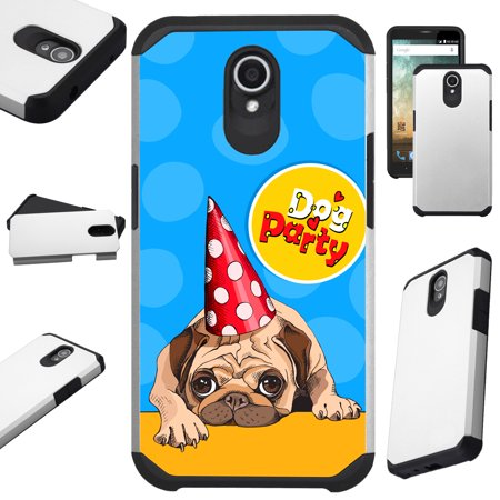 Compatible Alcatel idealXTRA | 1X Evolve (2018) | TCL LX Phone Case Hybrid TPU Fusion Cover (Dog Party)](Phone Party)