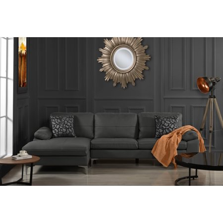 Leather Sectional Sofa, L-Shape Couch with Chaise (Grey) ()
