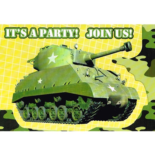 Military Camouflage Tank Invitations and Thank You Notes w/ Envelopes (10ct ea.)