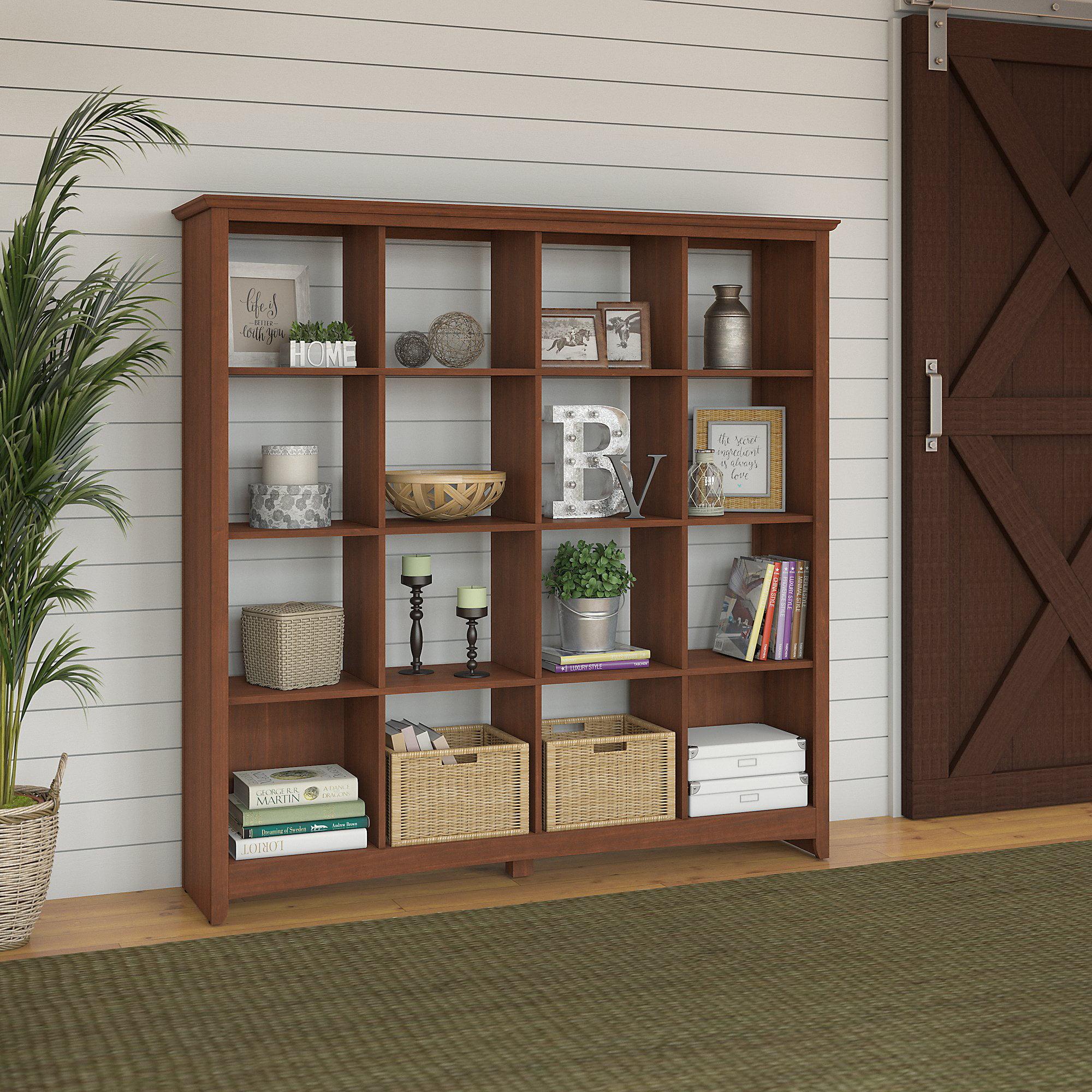 Bush Furniture Buena Vista 16 Cube Bookcase in Serene Cherry