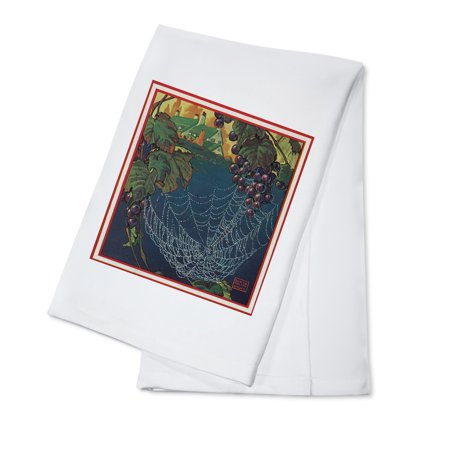 Nature Magazine - View of a Bunch of Grapes with a Spider Web (100% Cotton Kitchen Towel)