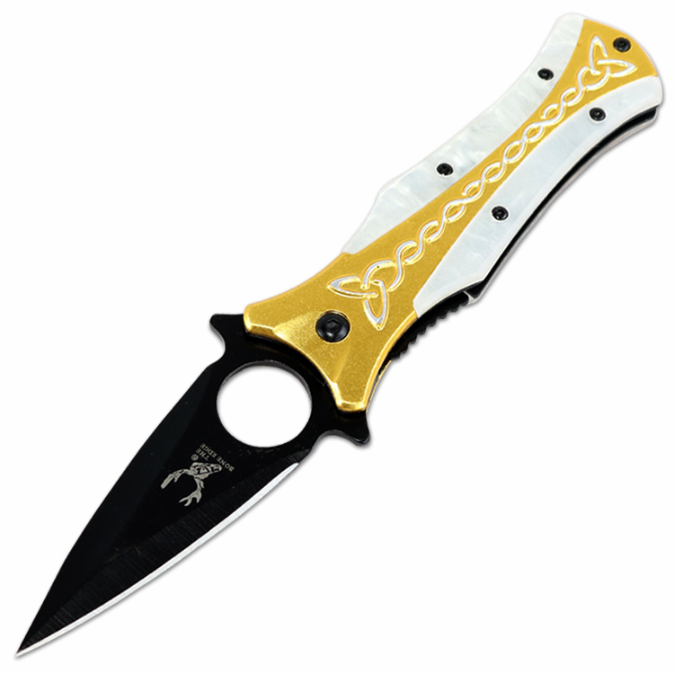 "TheBoneEdge 8"" Gold & White Spring Assisted Tactical Rescue Knife With Belt Clip"
