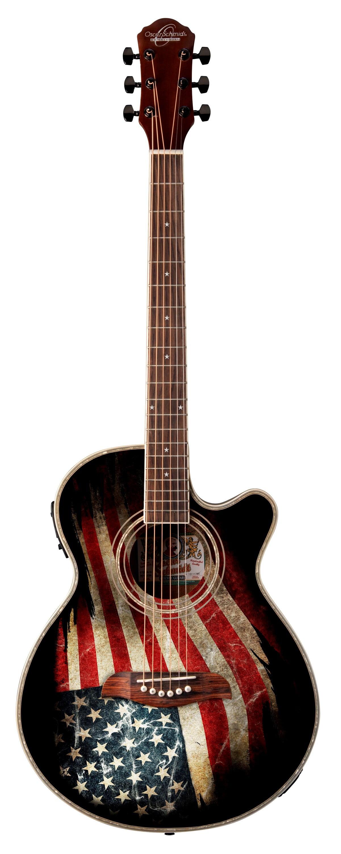 Oscar Schmidt OG10CE Cutaway Acoustic-Electric Guitar, American Flag by Oscar Schmidt