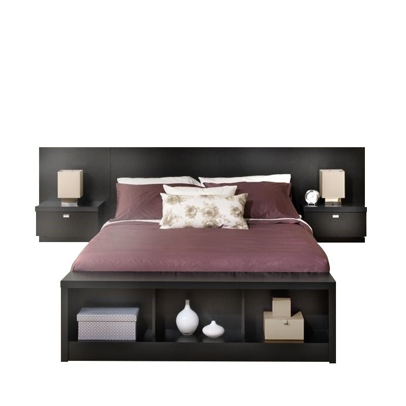 Bowery Hill King Platform Storage Bed with Floating Headboard in