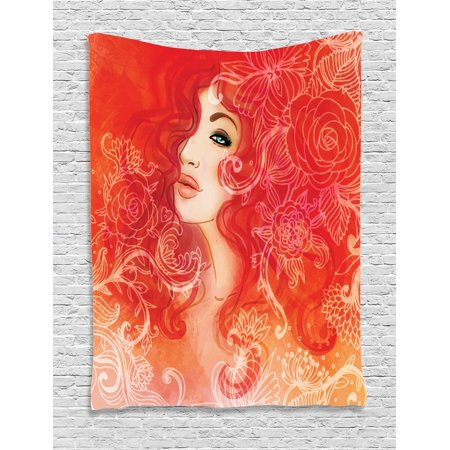 Girls Tapestry, Woman Face with Floral Ornamentals in Hair Glamour Watercolor Modern Artwork, Wall Hanging for Bedroom Living Room Dorm Decor, Red Orange Cream, by Ambesonne