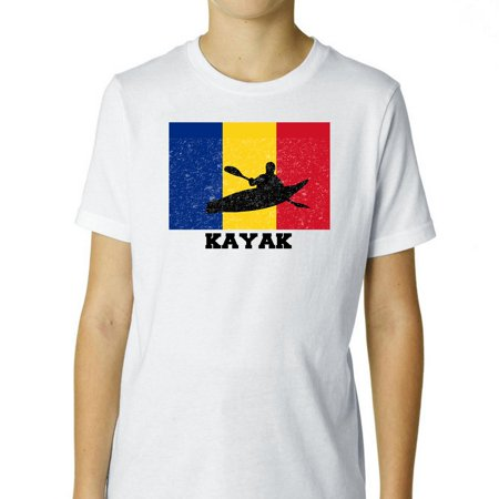 Romania  Olympic - Kayak - Flag - Silhouette Boy's Cotton Youth T-Shirt