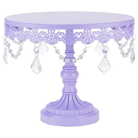 Amalfi Décor 10 Inch Crystal-Draped Round Metal Cake Stand (Lavender Purple) | Stainless Steel Frame - Black Cake Stands