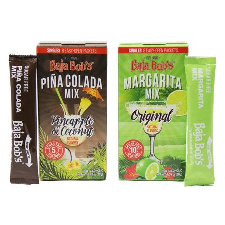 Baja Bob's Sugar Free Cocktail Mix Singles - Variety Pack (1 - Original Margarita and 1 - Pina - Strawberry Pina Colada