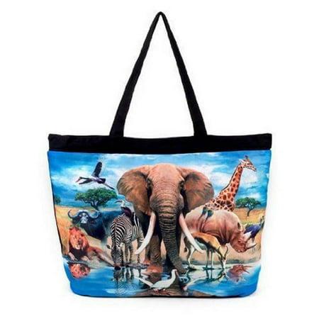 Zebra Animal Print Tote - Galleria Enterprises African Safari Elephant, Zebra, Giraffe Large Tote 19.5