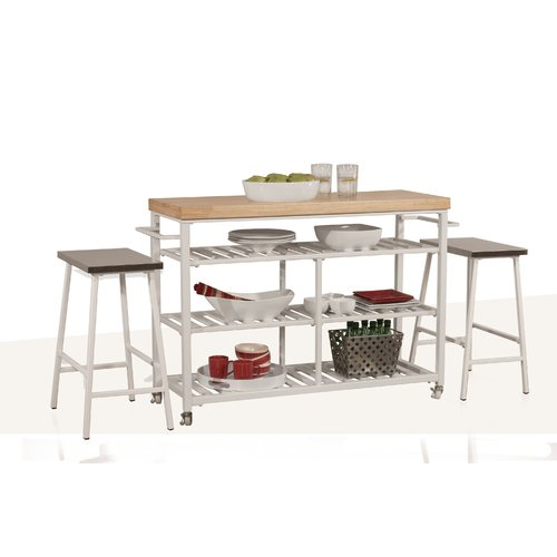 August Grove Geary Kitchen Island Set With Solid Wood Top   Walmart.com