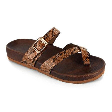- Corkys Women's Santa Ana Strappy Slip On Sandals Brown Snake