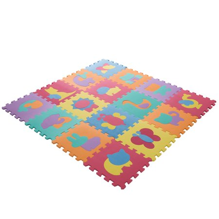 Puzzle Play Mazes Software - Interlocking Foam Tile Play Mat with Animals - Nontoxic Children's Multicolor Puzzle Tiles for Playrooms, Nurseries, Gyms and More by Hey! Play!