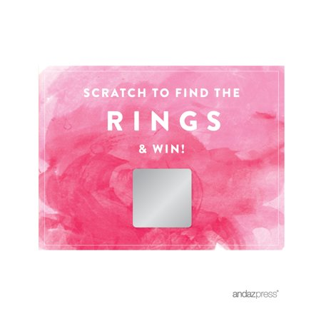 Pink Watercolor Wedding Bridal Shower Game Scratch Cards, 30-Pack for $<!---->