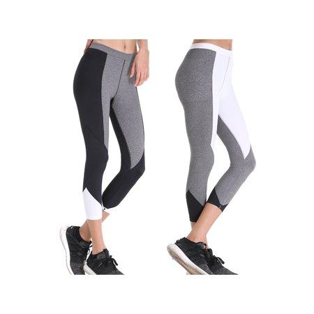 a4cef4a63c210 Curve Muse - Curve Muse Women Yoga Leggings - Fitness Sports Workout Capris  Activewear High Rise Yoga Pants - 2 Pack-Gray, White - Walmart.com