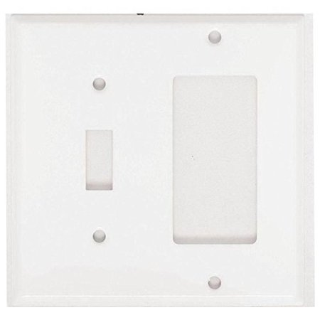 Mulberry 86432 Painted Steel Standard Size GFI Surge 2-Gang Combination Wallplate (1) Toggle Switch (1) Block Duplex/GFI Receptacle White (Remington Plate Block)