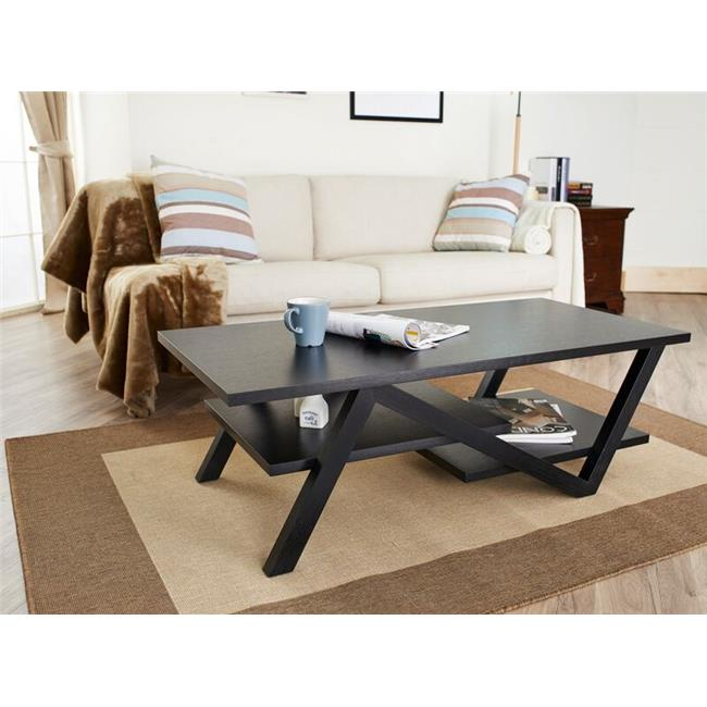 Enitial Lab ID-10376CT Zandra 2-Tiered Angular Coffee Table, Black